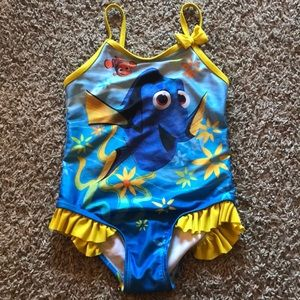 Disney Finding Dory Blue and Yellow One Piece Girls Swimming Suit